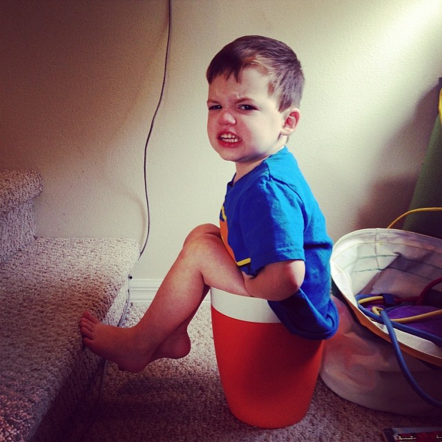And… he got stuck in a trash can.